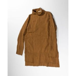 Moth Knit Stretch Rolled Turtleneck Sweater Brown